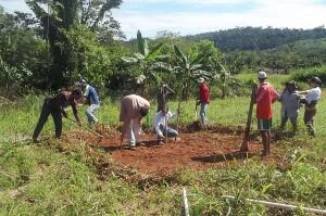 Homens e mulheres no campo exercitam tecnologias sociais atuais, como o círculo das bananeiras, em Cotriguaçu. Foto: Sucena Shkrada Resk/ICV