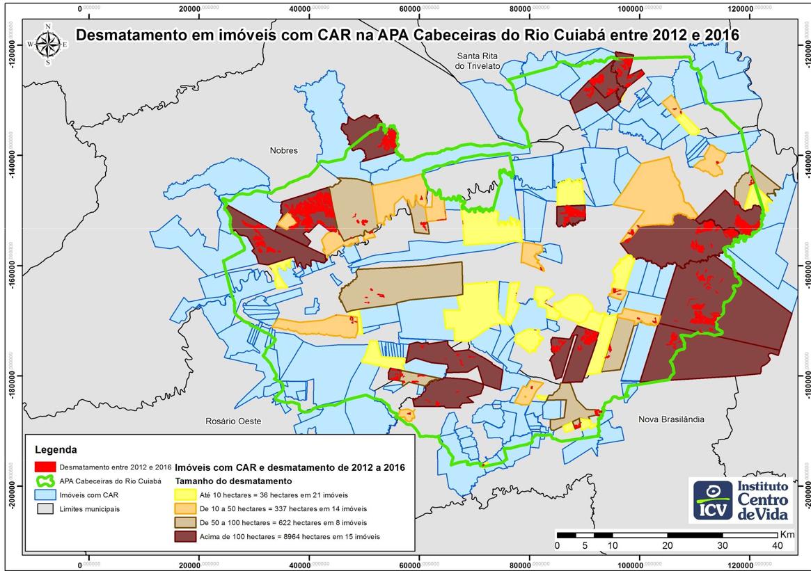 Mapa com limites de imóveis Rurais (CAR) e desmates ocorridos de 2012 à 2016 (Fontes: SEMA/MT; Análise ICV)