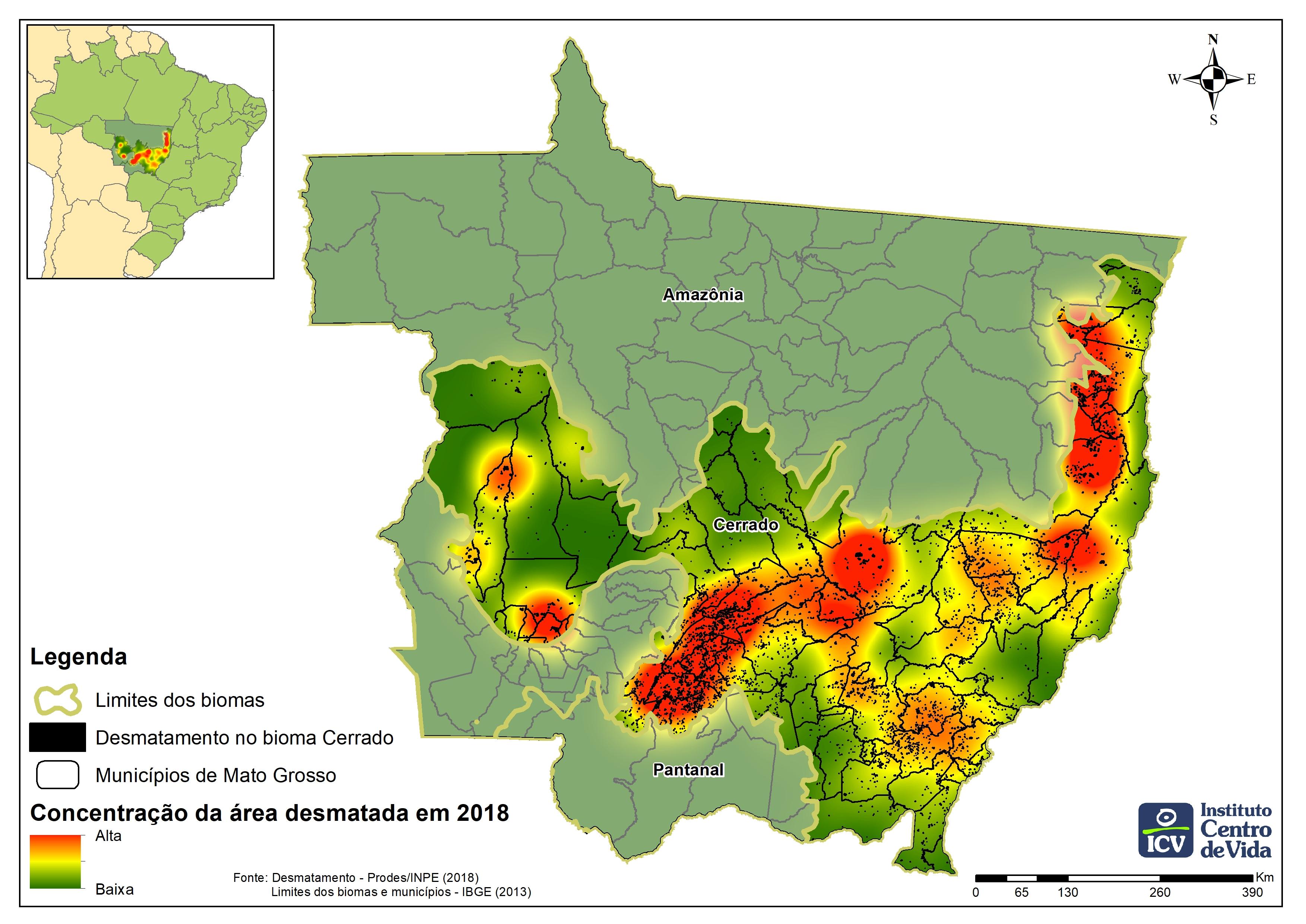 Mapa verde fosco de Mato Grosso destacando a área do Cerrado em verde brilhoso com as áreas de desmatamento marcadas em amarelo, laranja e vermelho, conforme a concentração.