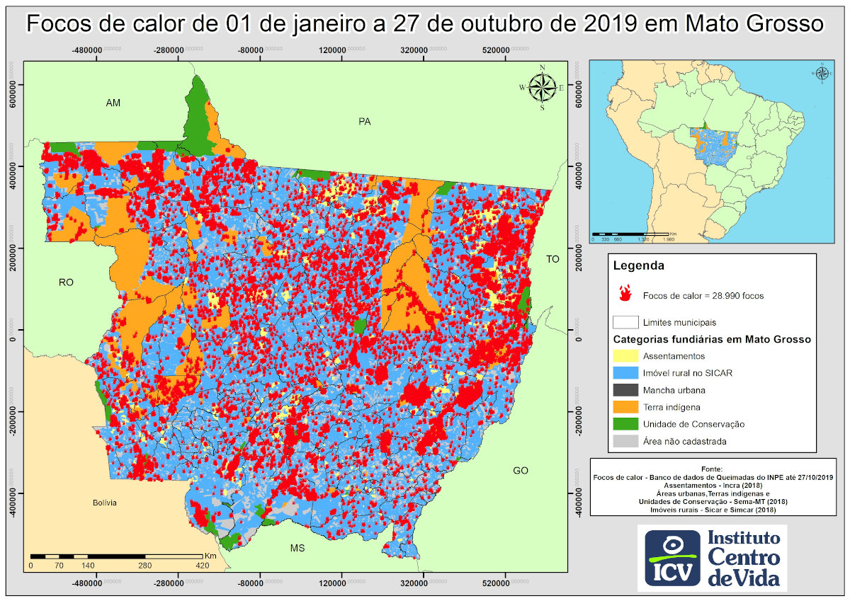 Mapa de Mato Grosso com o acumulado de focos de calor em 2019, até 27 de outubro