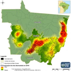 Mapa mostrando a concentração do desmatamento entre agosto de 2018 e julho de 2019