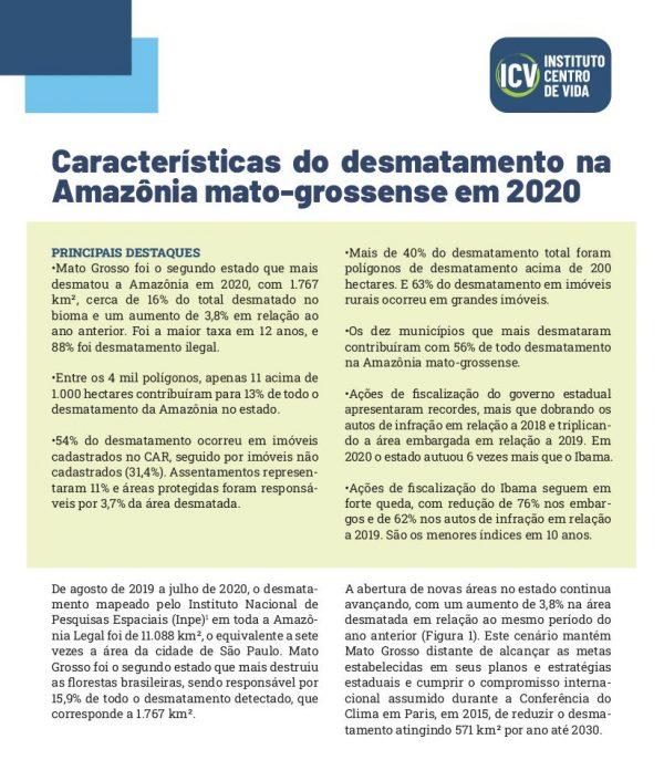 Capa da publicação Características do desmatamento na amazônia mato-grossense 2020