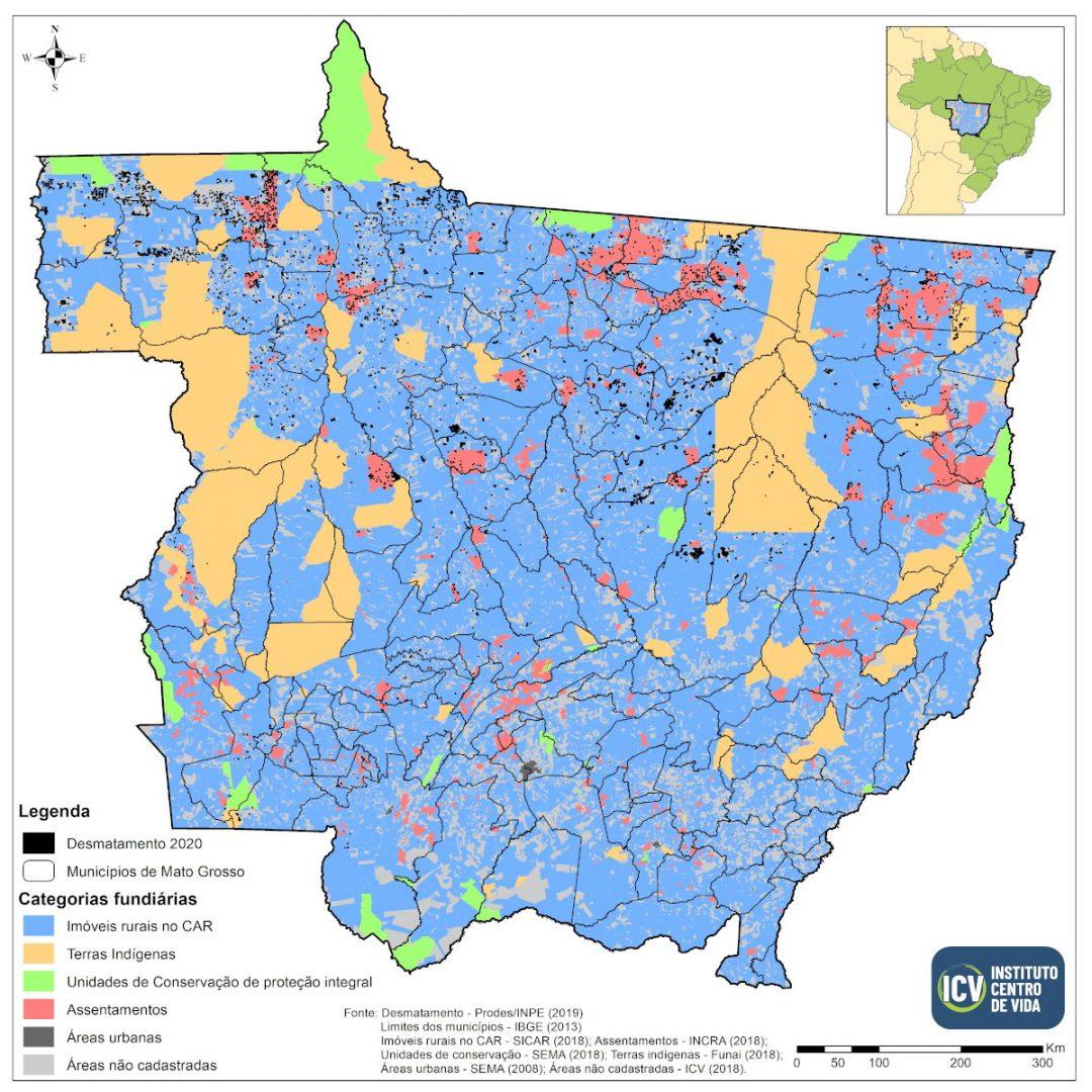 Mapa de Mato Grosso mostrando a distribuição de desmatamento por tipologia fundiária
