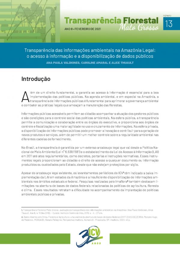 Capa do relatório sobre Transparência das informações ambientais na Amazônia Legal